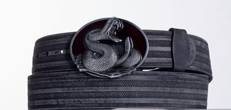 Kožené opasky - Černý kožený opasek Had prb.