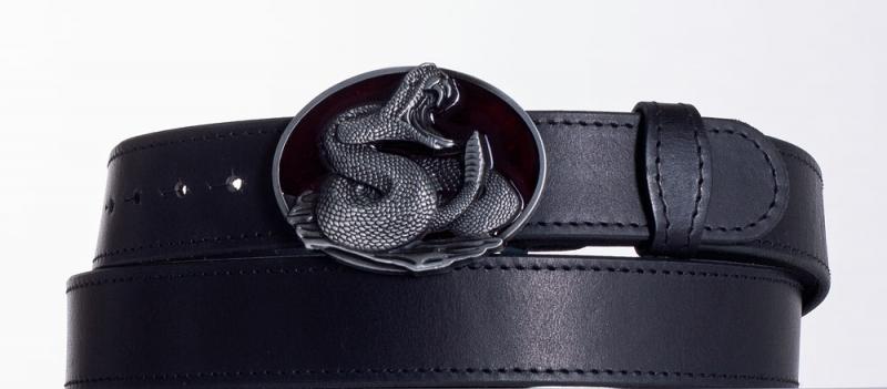 Kožené opasky - Černý kožený opasek Had obč