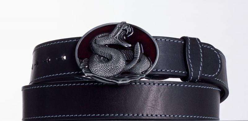 Kožené opasky - Černý kožený opasek Had obš