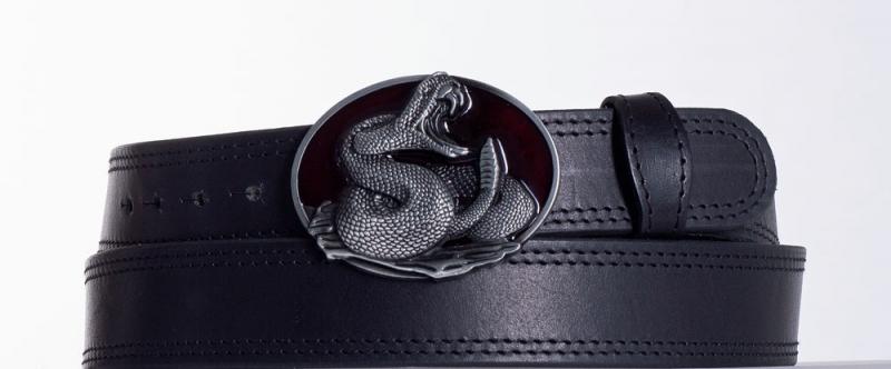 Kožené opasky - Černý kožený opasek Had ob2č