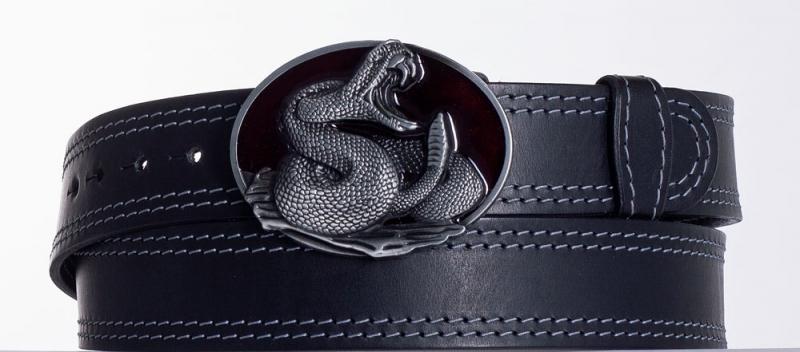 Kožené opasky - Černý kožený opasek Had ob2š