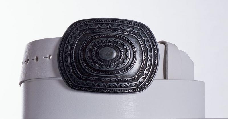 Kožené opasky - Bílý kožený opasek Aztec