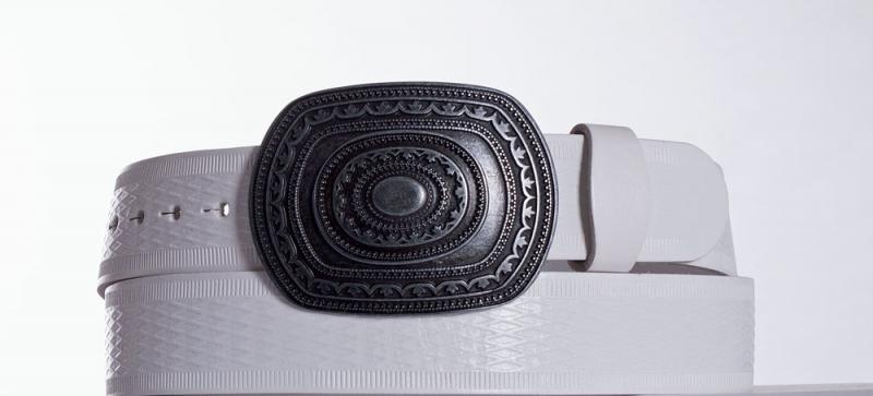 Kožené opasky - Bílý kožený opasek Aztec vr.