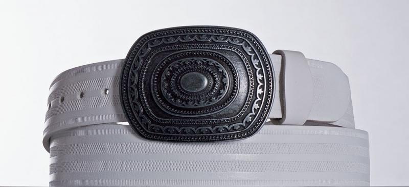Kožené opasky - Bílý kožený opasek Aztec pr.