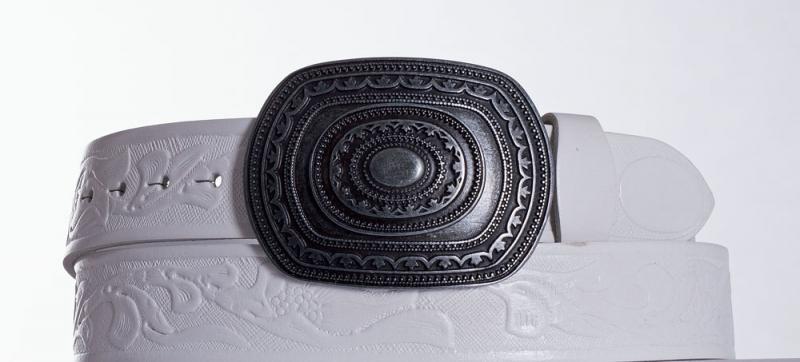 Kožené opasky - Bílý kožený opasek Aztec vz.