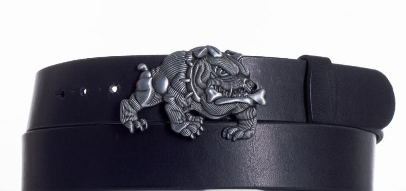 Kožené opasky - Černý kožený pásek Buldok
