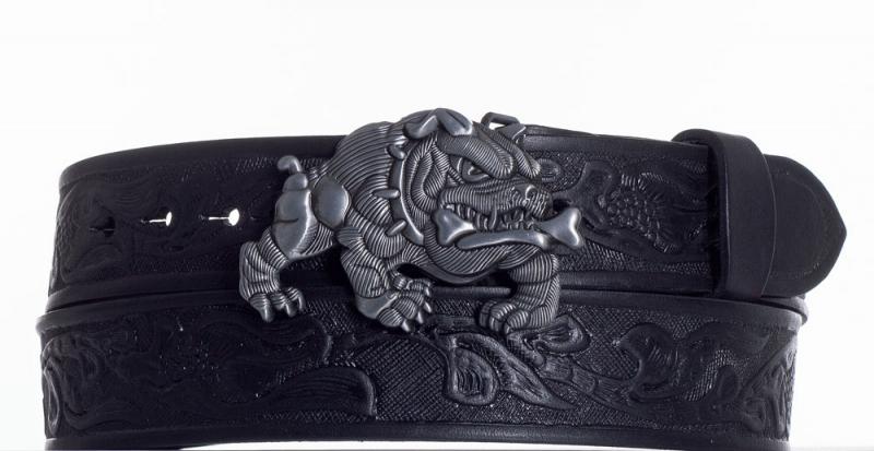 Kožené opasky - Černý kožený pásek Buldok vz.