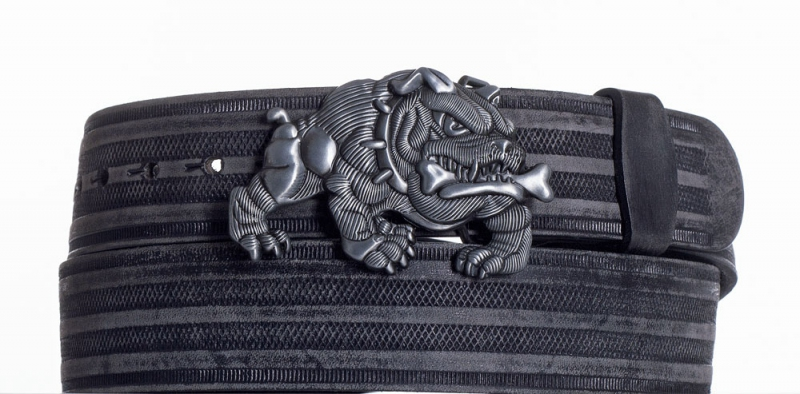 Kožené opasky - Černý kožený pásek Buldok prb.