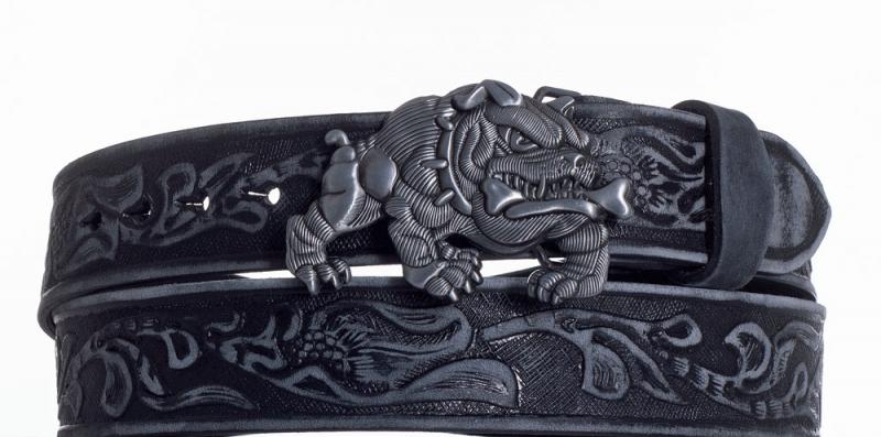 Kožené opasky - Černý kožený pásek Buldok vzb.
