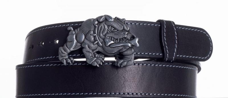 Kožené opasky - Černý kožený pásek Buldok obš.
