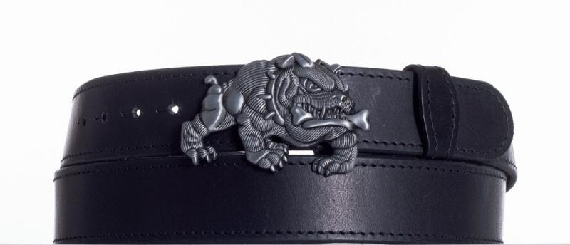 Kožené opasky - Černý kožený pásek Buldok obč.