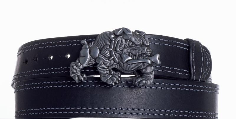 Kožené opasky - Černý kožený pásek Buldok ob2š.