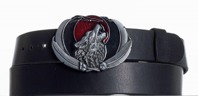 Kožené opasky - Kožený opasek černý Vlk