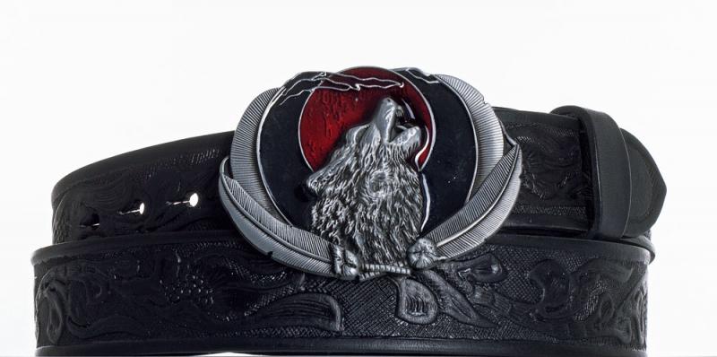Kožené opasky - Kožený opasek černý Vlk vz.