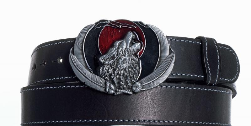 Kožené opasky - Kožený opasek černý Vlk obš.