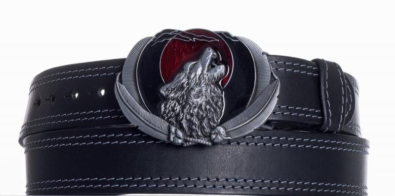 Kožené opasky - Kožený opasek černý Vlk ob2š.