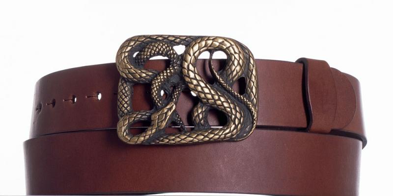 Kožené opasky - Hnědý kožený pásek Had