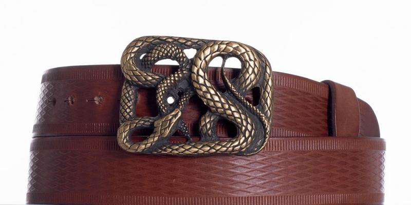 Kožené opasky - Hnědý kožený pásek Had vr