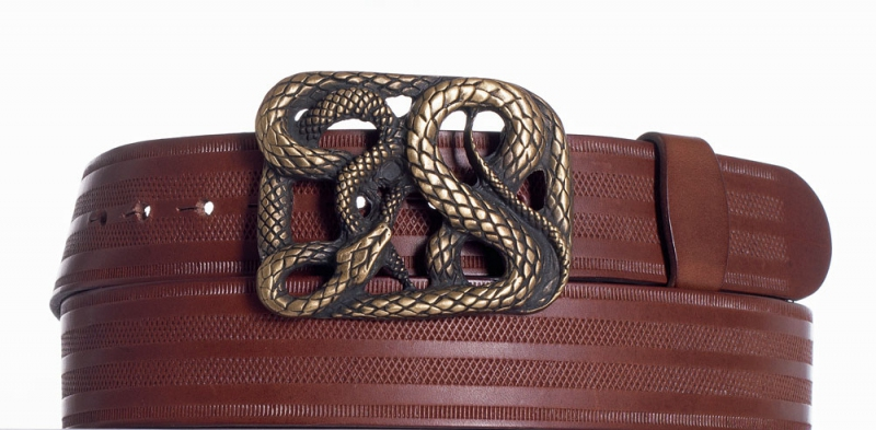 Kožené opasky - Hnědý kožený pásek Had pr