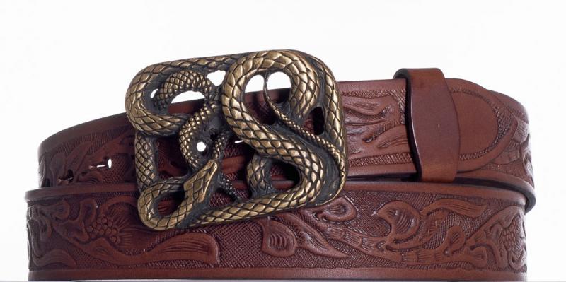 Kožené opasky - Hnědý kožený pásek Had vz