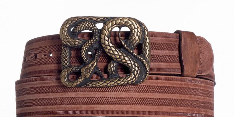 Kožené opasky - Hnědý kožený pásek Had prb.