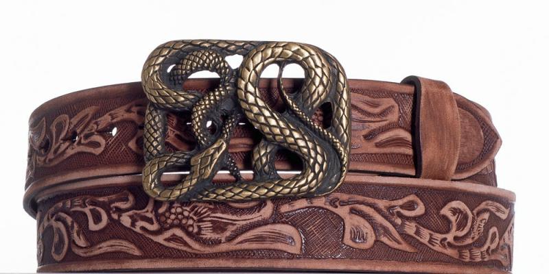 Kožené opasky - Hnědý kožený pásek Had vzb