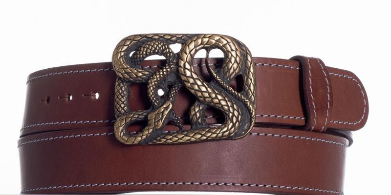Kožené opasky - Hnědý kožený pásek Had ob