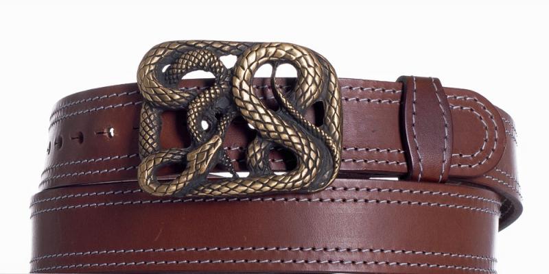 Kožené opasky - Hnědý kožený pásek Had ob2