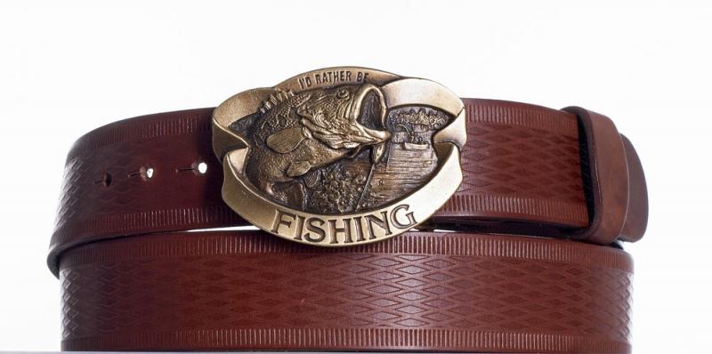 Kožené opasky - Kožený pásek hnědý Ryba vr