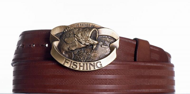 Kožené opasky - Kožený pásek hnědý Ryba pr