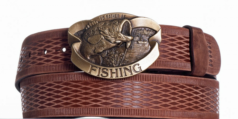 Kožené opasky - Kožený pásek hnědý Ryba vrb