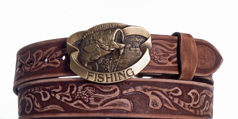Kožené opasky - Kožený pásek hnědý Ryba vzb