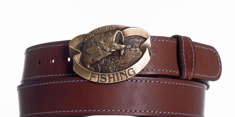 Kožené opasky - Kožený pásek hnědý Ryba ob