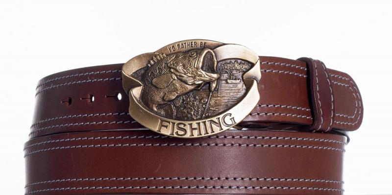 Kožené opasky - Kožený pásek hnědý Ryba ob2