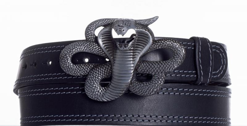 Kožené opasky - Černý kožený pásek Kobra ob2š