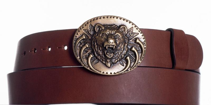 Kožené opasky - Hnědý kožený pásek Medvěd