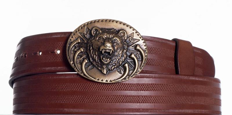 Kožené opasky - Hnědý kožený pásek Medvěd pr
