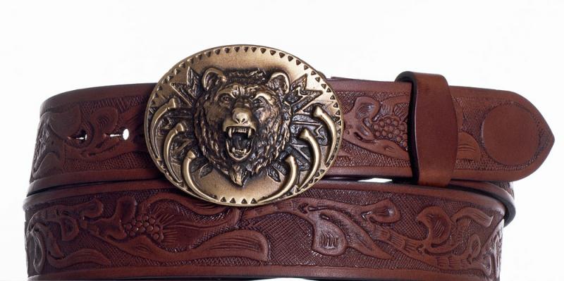 Kožené opasky - Hnědý kožený pásek Medvěd vz