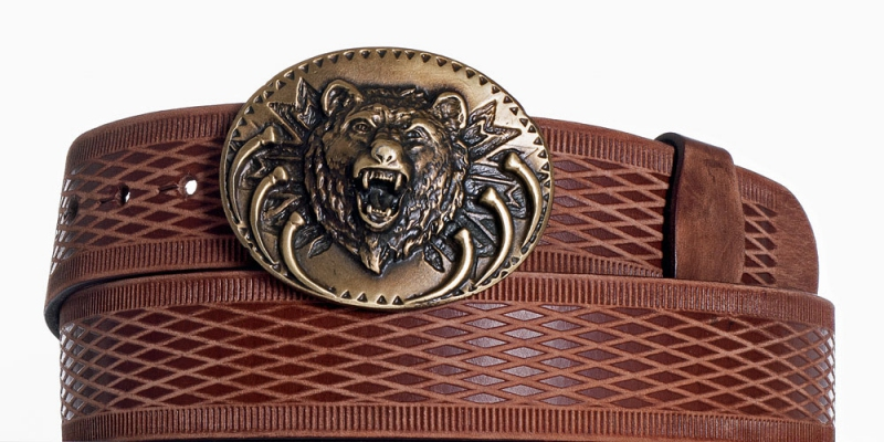 Kožené opasky - Hnědý kožený pásek Medvěd vrb