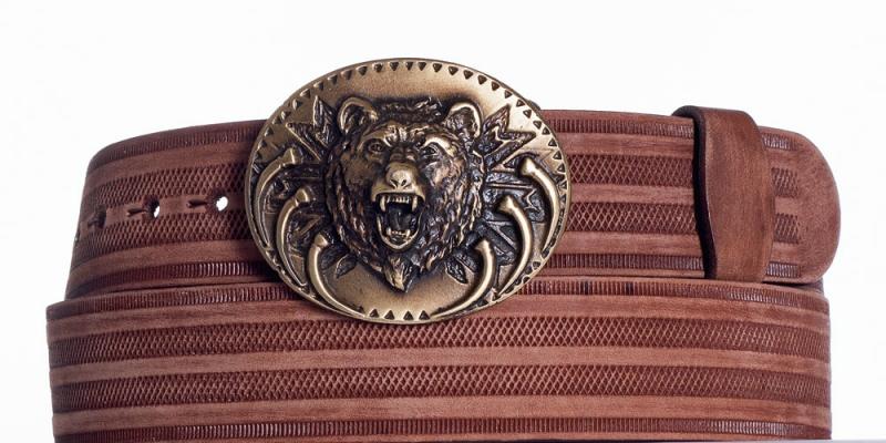 Kožené opasky - Hnědý kožený pásek Medvěd prb.