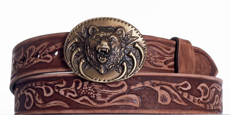 Kožené opasky - Hnědý kožený pásek Medvěd vzb