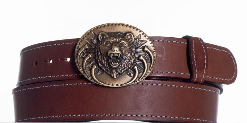 Kožené opasky - Hnědý kožený pásek Medvěd ob