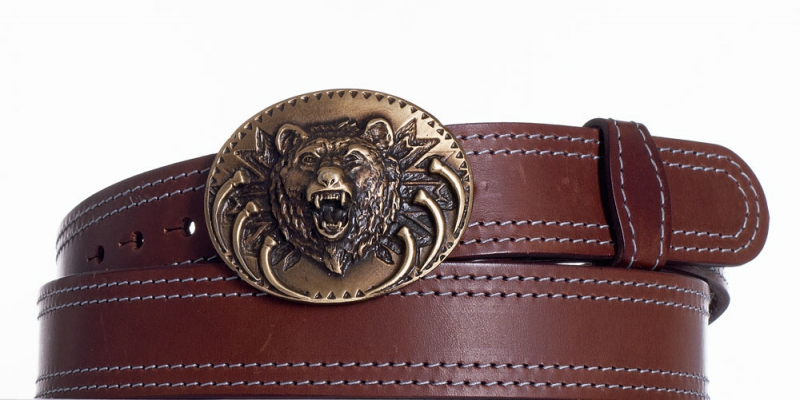 Kožené opasky - Hnědý kožený pásek Medvěd 2ob