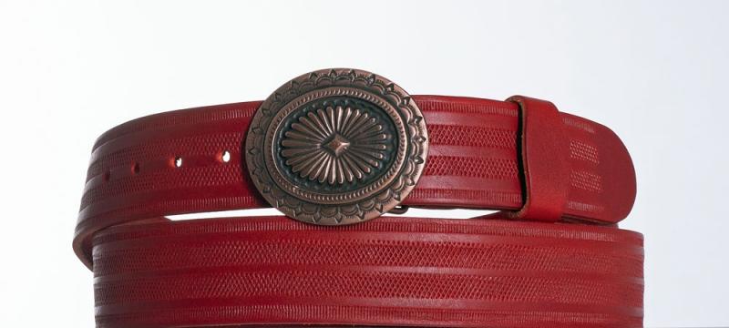 Kožené opasky - Červený kožený opasek Ovál pr
