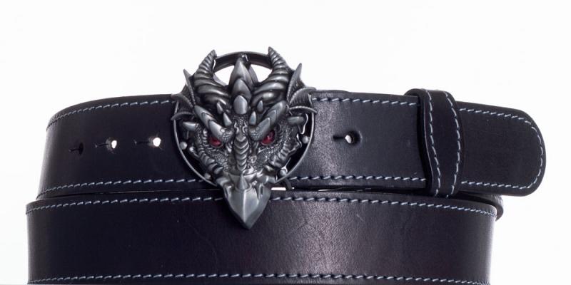 Kožené opasky - Černý kožený opasek Drak obš
