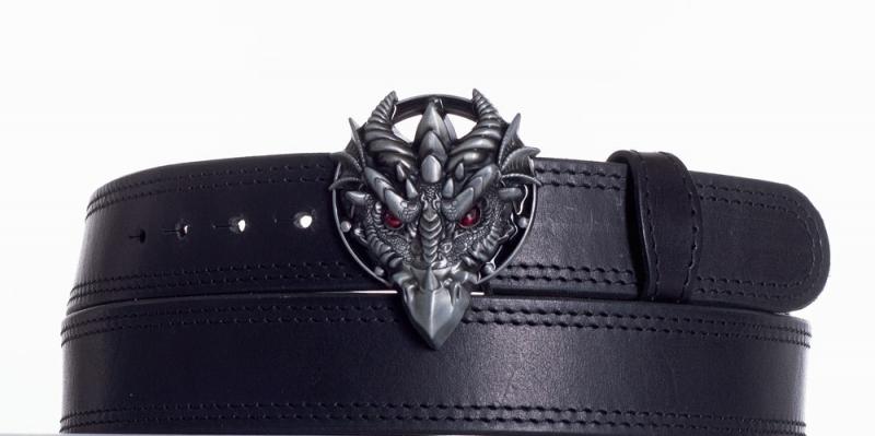 Kožené opasky - Černý kožený opasek Drak ob2č