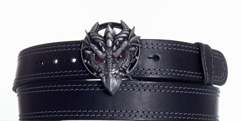 Kožené opasky - Černý kožený opasek Drak ob2š