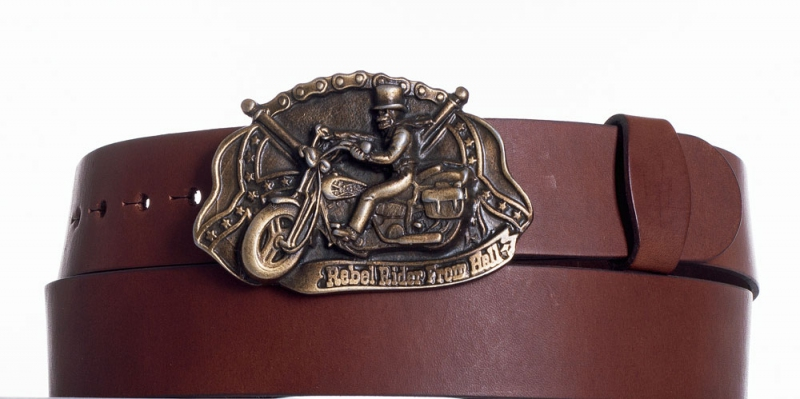 Kožené opasky - Hnědý kožený pásek Motorkář
