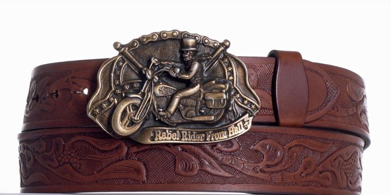 Kožené opasky - Hnědý kožený pásek Motorkář vz.