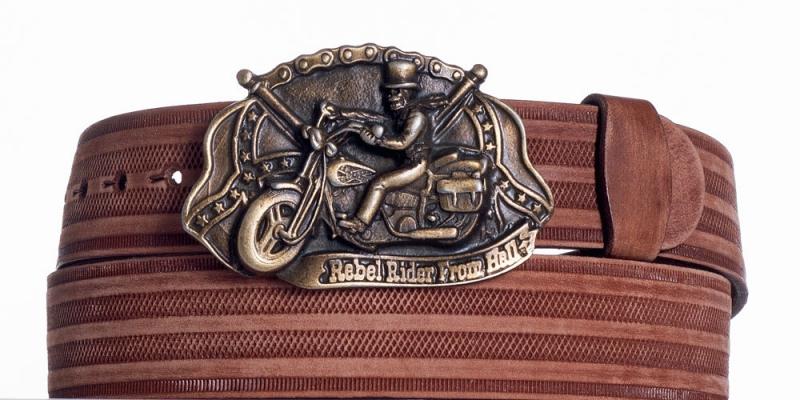 Kožené opasky - Hnědý kožený pásek Motorkář prb.